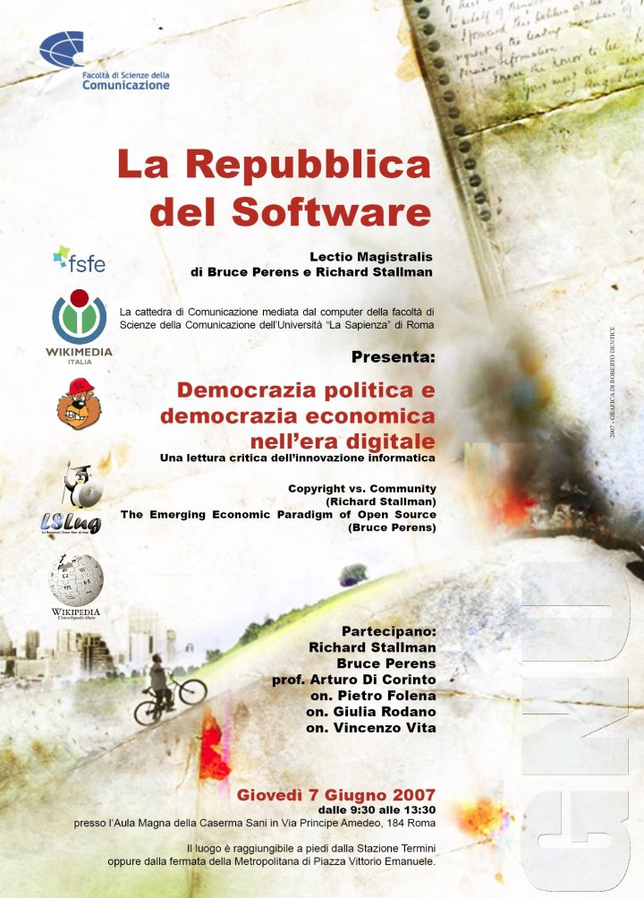 locandina software libero alla Sapienza